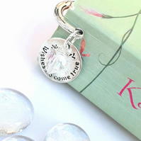 'Wishes Do Come True Charm' Bookmark, Crystal Heart, Love Token, Gift Ideas xx