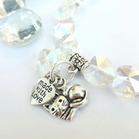 Cute Cat Charm with Sparkly Crystal Heart Bracelet, Cat Lover Gift, Gift Ideas x