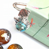 Cute Hedgehog Charm Bookmark, Sparkly Green Crystal, Gift Ideas, Love Token xx