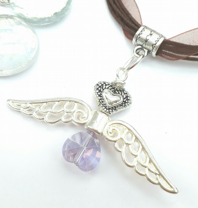 Heart Angel Charm, Lilac Crystal Necklace, Gift for Her, Love Gift  xx