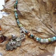Oak Leaf Acorn Anklet - Boho Jewellery, Hippie Jewellery, Summer Jewellery x
