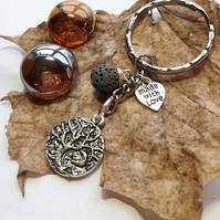 Lava Stone Tree of Life and Crescent Moon Bag Charm or Keyring.  Healing