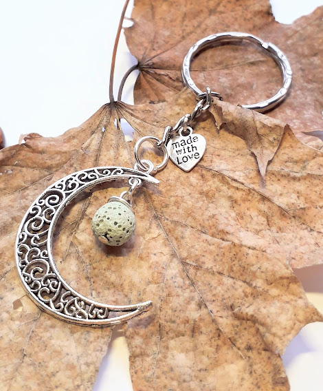 Lava Stone with Crescent Moon Keyring. Healing Properties, Moon Jewellery x