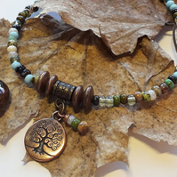 Tree of Life Charm with Earthy Forest Anklet. Summer Jewellery, Woodland, Nature