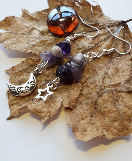 Star and Moon Charm with Amethyst Gemstone Drop Earrings, Star and Moon Earrings