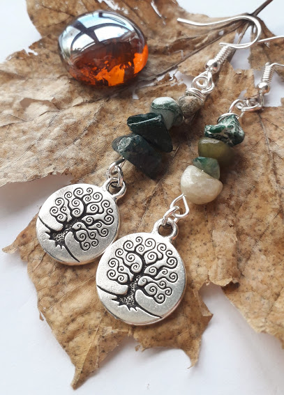 Tree of Life Charm with Agate Drop Earrings, Gemstone Earrings, Gift Ideas