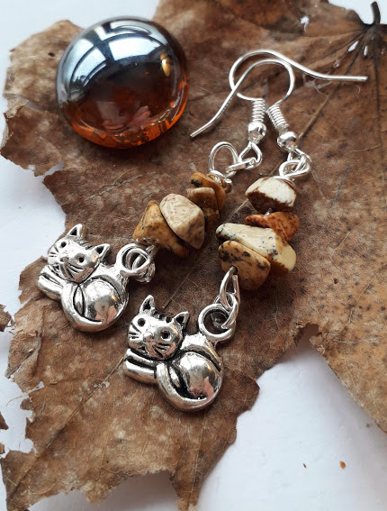 Cute Cat Charm with Jasper Earrings, Birthday Earrings, Gemstone Earrings, Gift