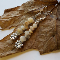 Wildflower Charm with Moonstone Earrings. Nature, Garden, Hippie, Boho