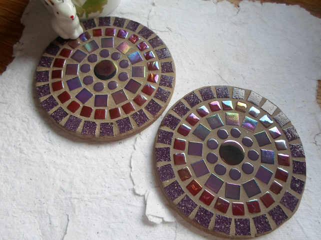 SALE Mosaic Round Coasters in Purples
