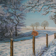 """Squirrel in a Winter Landscape"" original painting"