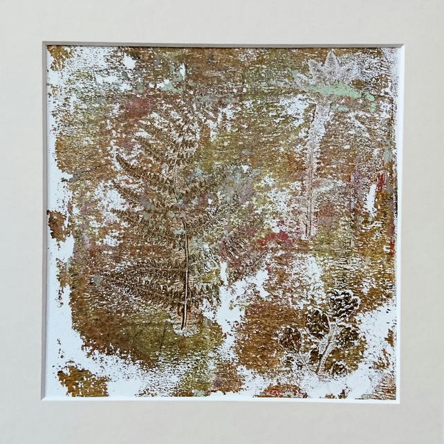 'Fern Garden' - Original one-off monoprint in acrylic with cream mount