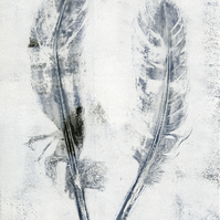 'Indigo Feathers' - Original one-off monoprint in acrylic unmounted