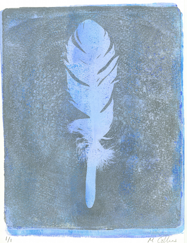 'Blue Feather' - Original one-off monoprint in acrylic unmounted