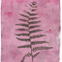'Raspberry Fern' - Original one-off monoprint in acrylic