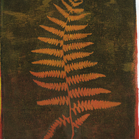 'Burnt Orange Fern' - Original one-off monoprint in acrylic