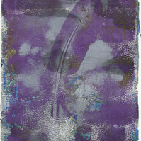 'Purple Feather' - Original one-off monoprint in acrylic unmounted