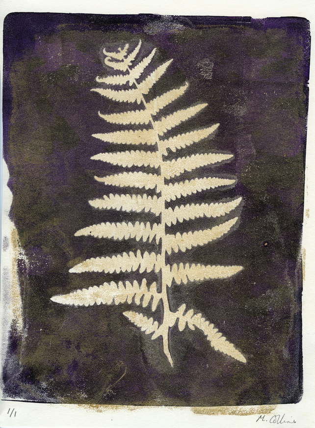 'Royal Purple Fern' - Original one-off monoprint in acrylic