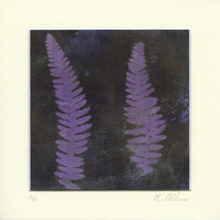 'Two Purple Ferns' - Original one-off monoprint in acrylic with cream mount