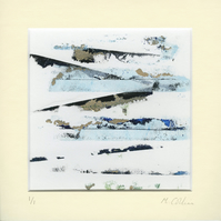 'Blue Glacier' - Original abstract monoprint in acrylic with cream mount