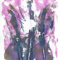 'Pink Feather Trio' - Original one-off monoprint in acrylic unmounted