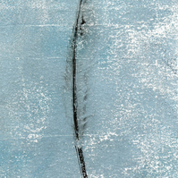 'Feather Blue' - one-off monoprint art greetings card - for gifting and framing