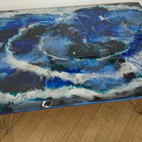 "Blue Resin Coffee Table 3 ft x 2 ft with 15"" zinc hairpin legs - COLLECTION ONLY"
