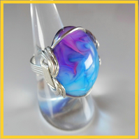 Purple & Blue cabochon Ring, Wire Wrapped Ring, Unique, Hand Made, Resin Jewelry