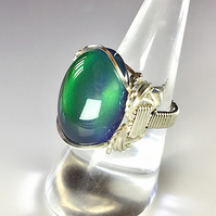 Mood Ring, colour Changing Mood Stone Ring, Wire Wrapped Ring, Unique,