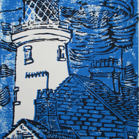 Southwold Lighthouse - Original Hand Coloured Linocut Print Limited Edition