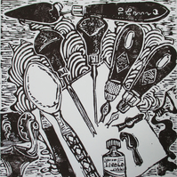 Linocut Tools Still Life - Original Hand Pressed Ltd Edition Linocut
