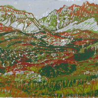 Glen Shiel, Highlands, Scotland, Original Hand Pressed Linocut Print Ltd Edition