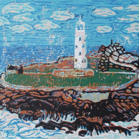 Godrevy Lighthouse, Cornwall - Original Hand Pressed Ltd Edition Linocut