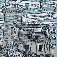 Belle Tout Lighthouse, East Sussex - Original Linocut Print - Hand Pressed