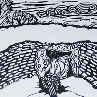 Belas Knap Long Barrow Cotwolds Original Hand Pressed Linocut Print