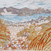 Clachtoll Beach, Scotland - Original Hand Pressed Linocut Print Ltd Edition