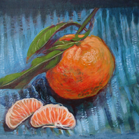 Clementine Still Life - Original Acrylic Painting on Board 8 inches x 6 inches