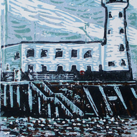 Scarborough Lighthouse, Yorkshire - Original Hand Pressed Linocut Print Ltd Edit