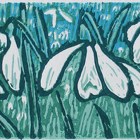 Snowdrops, Winter Flowers  - Original Hand Pressed Linocut Print Ltd Edit