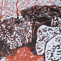 Wayland's Smithy Long Barrow Oxfordshire Original Hand Pressed Linocut Print