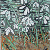Riverside Snowdrops - Original Hand Pressed Linocut Print Ltd Edit