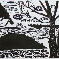 Sutton Hoo Ancient Site Suffolk Original Hand Pressed Linocut Print