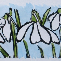 Snowdrops, Winter Flowers  - Original Hand Pressed Linocut with Watercolour