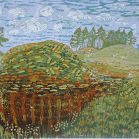 Sutton Hoo Landscape -  Original Hand Pressed Linocut Print Ltd Edition