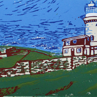 Belle Tout Lighthouse, East Sussex - Original Hand Pressed Linocut Print