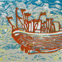 Hastings Boat on the Beach - Original Hand Pressed Linocut Print