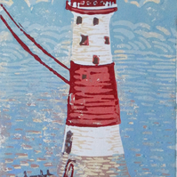 Beachy Head Lighthouse Original Hand Pressed Linocut Print Ltd Edition