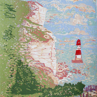 Beachy Head Lighthouse -  Original Hand Pressed Linocut Print Ltd Edition