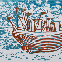 Hastings - On The Beach  Original Hand Pressed Linocut Print