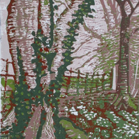 Snowdrop Corner Winter Landscape - Original Hand Pressed Linocut Print Ltd Edit