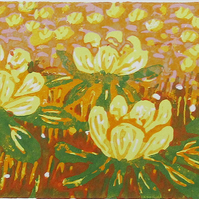 Winter Aconites Flowers  - Original Hand Pressed Linocut Print Ltd Edit